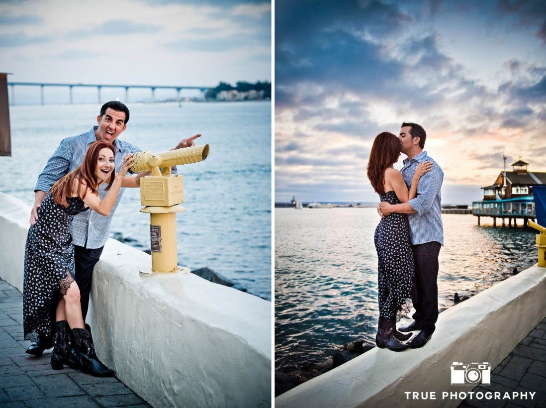 couple at waterfront locations at Seaport Village Engagement Photo Shoot