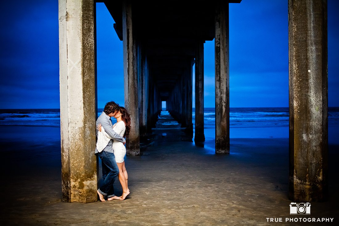 Beach engagement shoot in San Diego at Scripps Pier