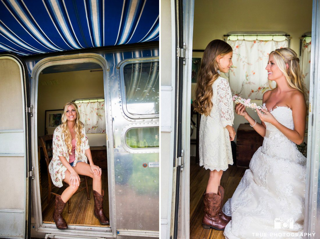bride getting ready in trailer