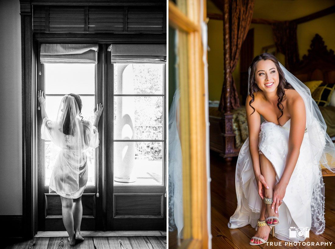 Bride getting ready in her suite at Calipaso Winery