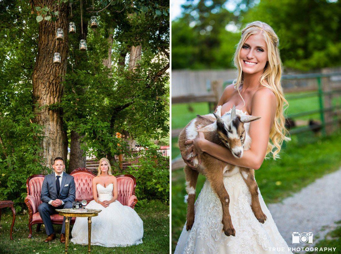 bride holding goat