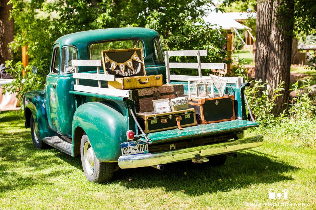 truck loaded with wedding decor