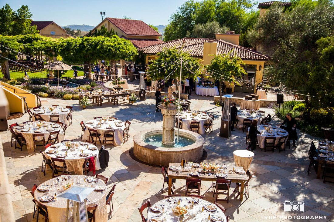 Wedding reception courtyard at Calipaso Winery