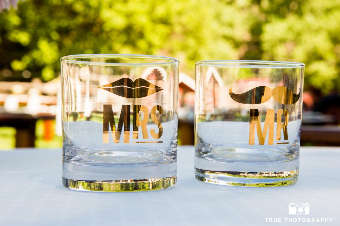 bride and groom mustache drinking glasses