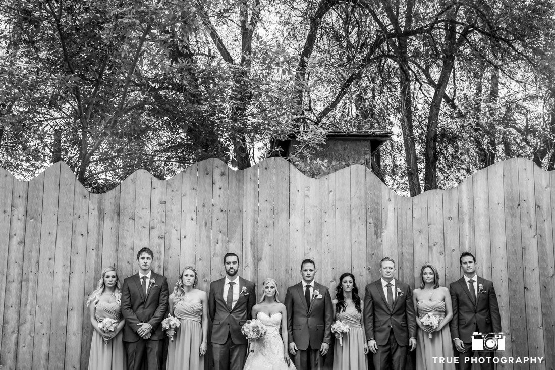 serious photo of wedding party against fence