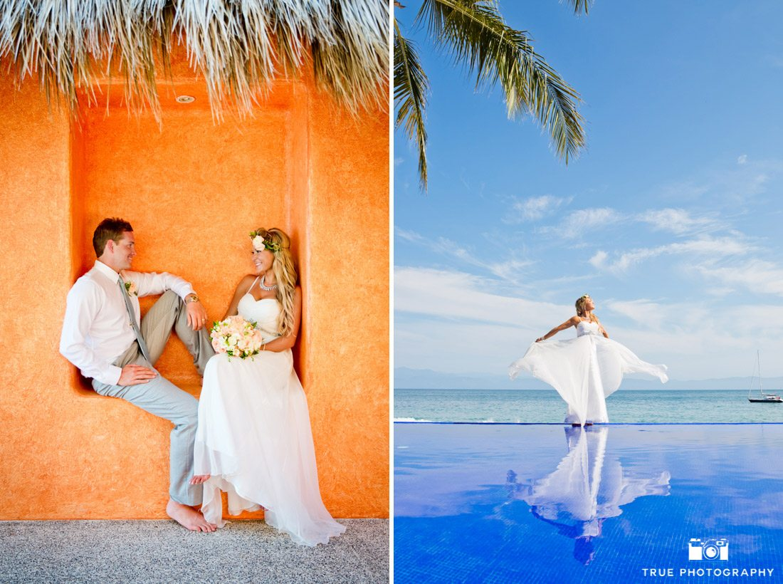Beautiful bride at Mexico destination wedding standing on the edge of an infinity pull with her reflection in the water.