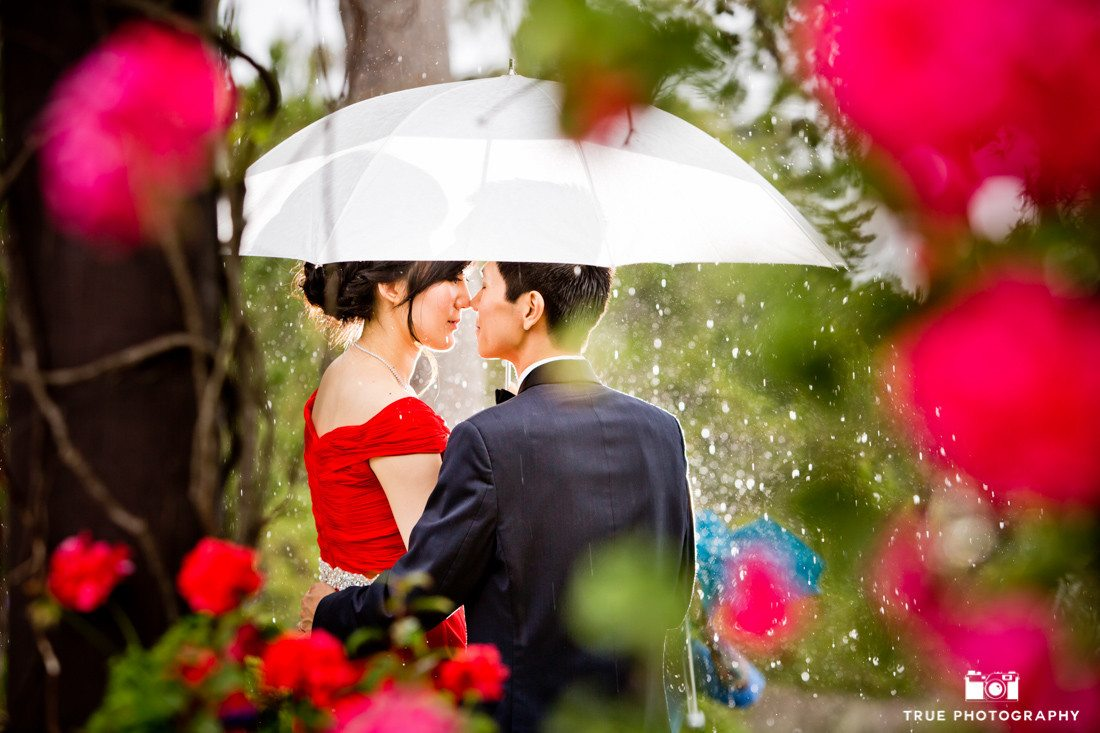Couple kiss in rain under umbrella