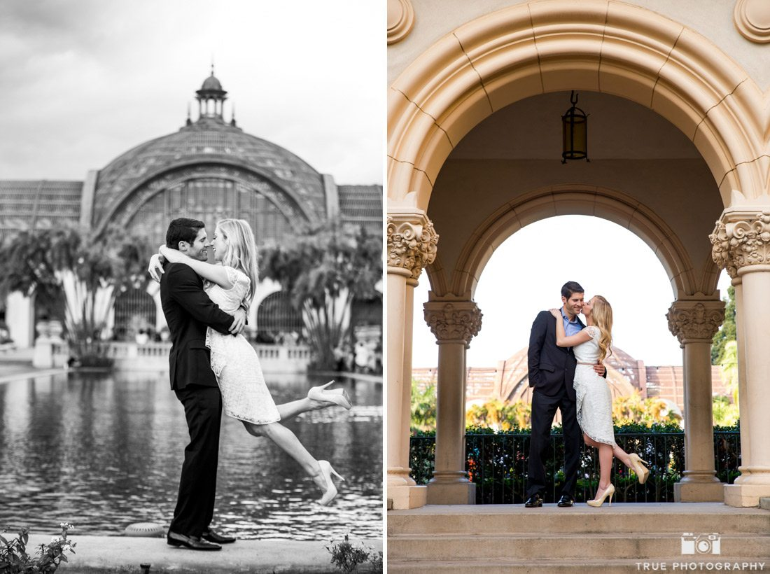 Engagement photo in front of Botanical Garden at San Diego's Balboa Park