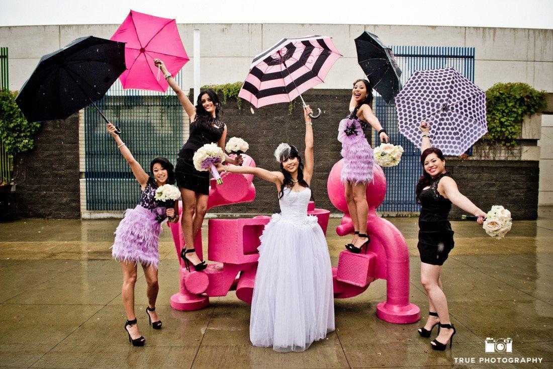 Bridesmaids with Umbrellas