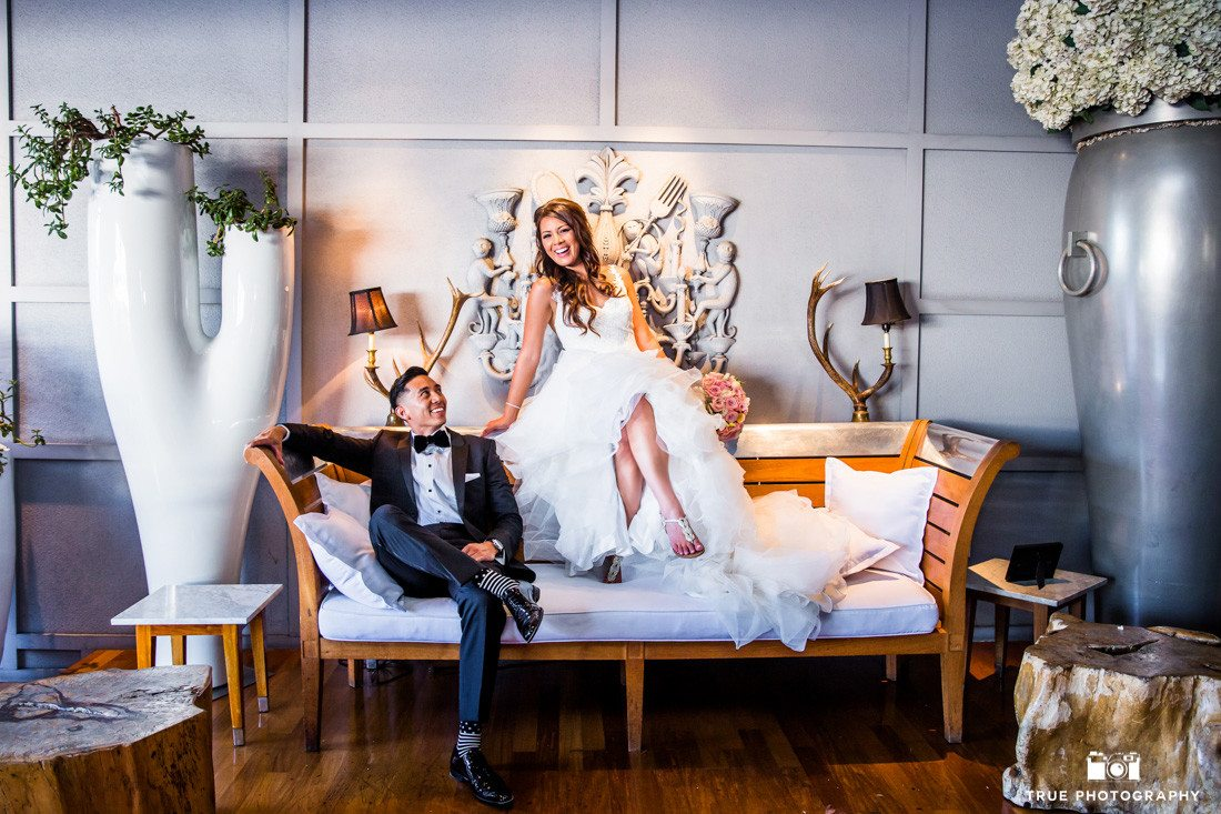 Wedding photography of a happy couple at the SLS Beverly Hills