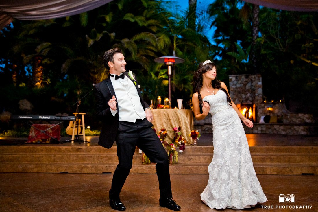Couple perform fun dance during wedding reception