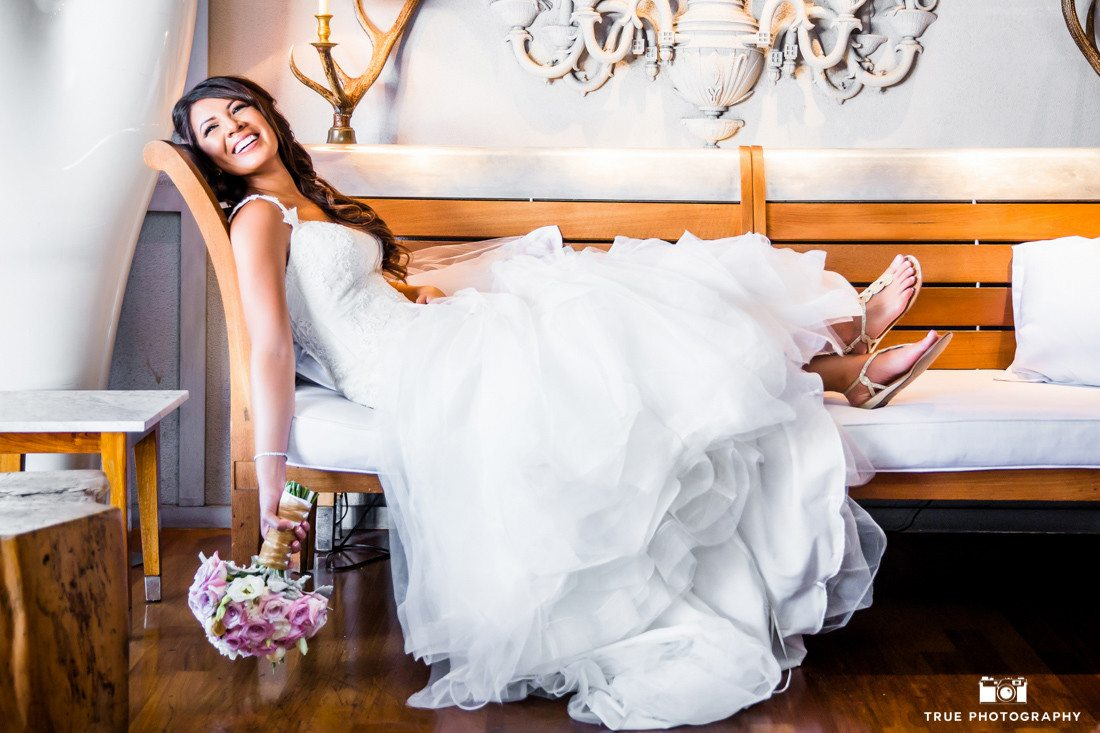 Fun pose of a bride at the SLS Hotel in Beverly Hills, California