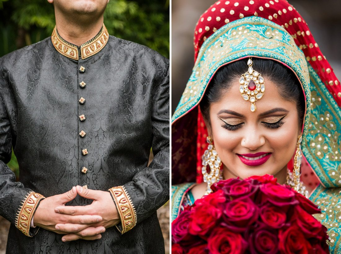 Close-ups of cultural bride and groom at the Grand Tradition Estate