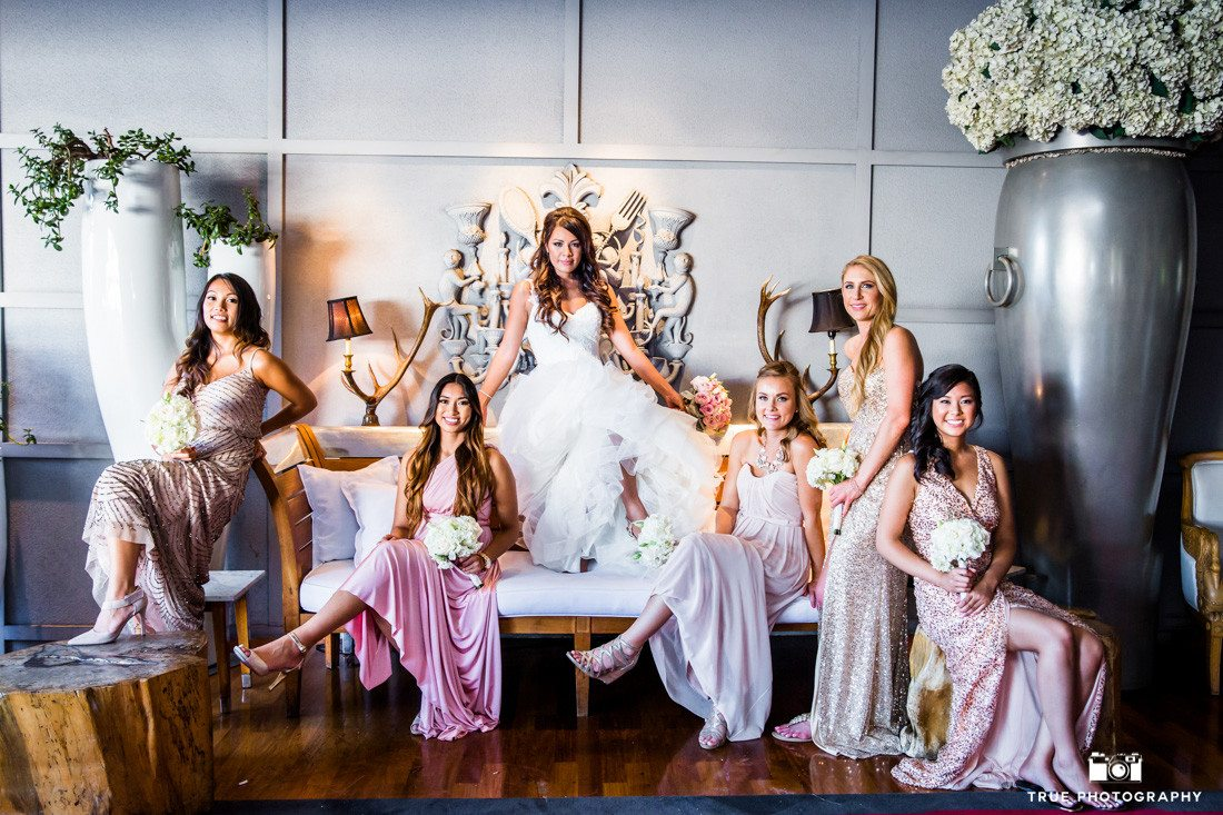 Stylized portrait of bridesmaids in different dresses at the SLS hotel in Beverly Hills.