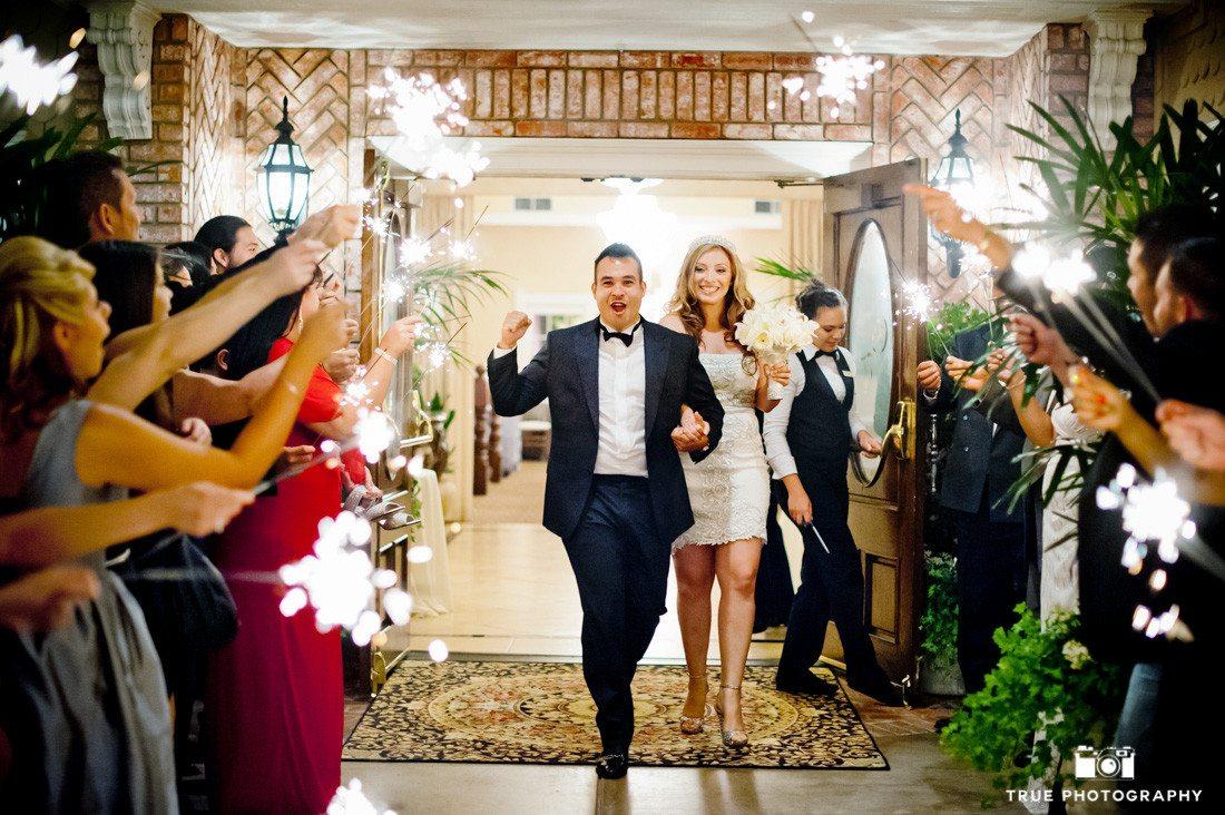 Bride and Groom plan fun sparkler exit