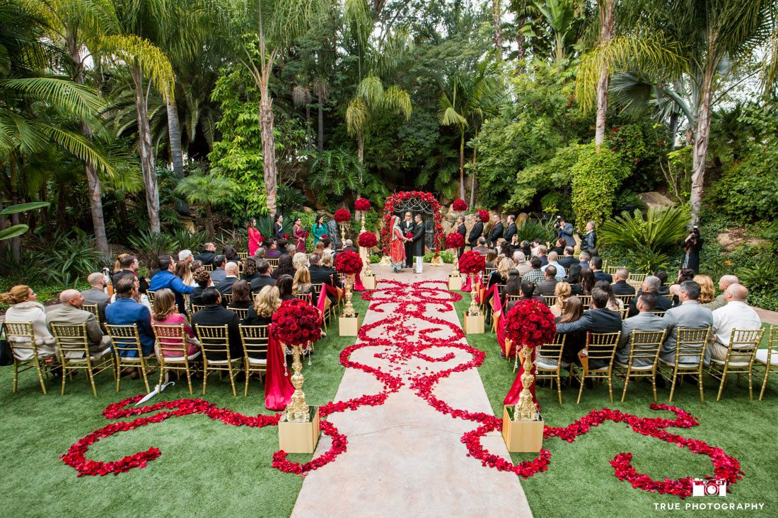 Ceremony Site at the Grand Tradition in Fallbrook, California draped with red roses.