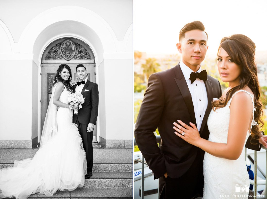 Clean portraits of luxurious bride and groom in Beverly Hills, California.