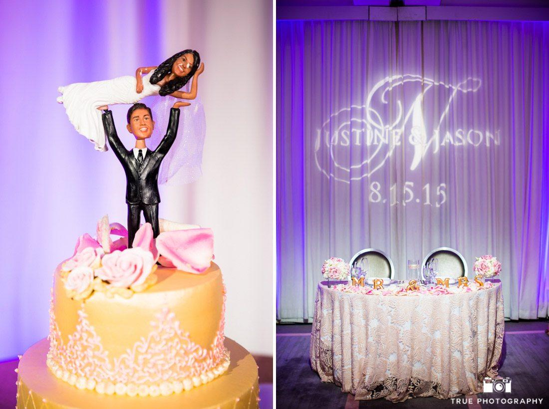 Fun custom cake topper of bride and groom