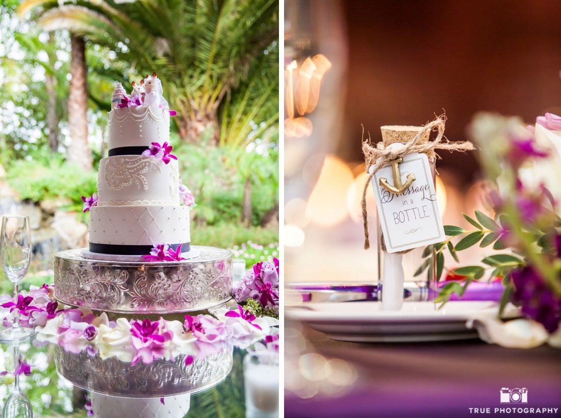 Fuscia-themed wedding cake and party favor reception details