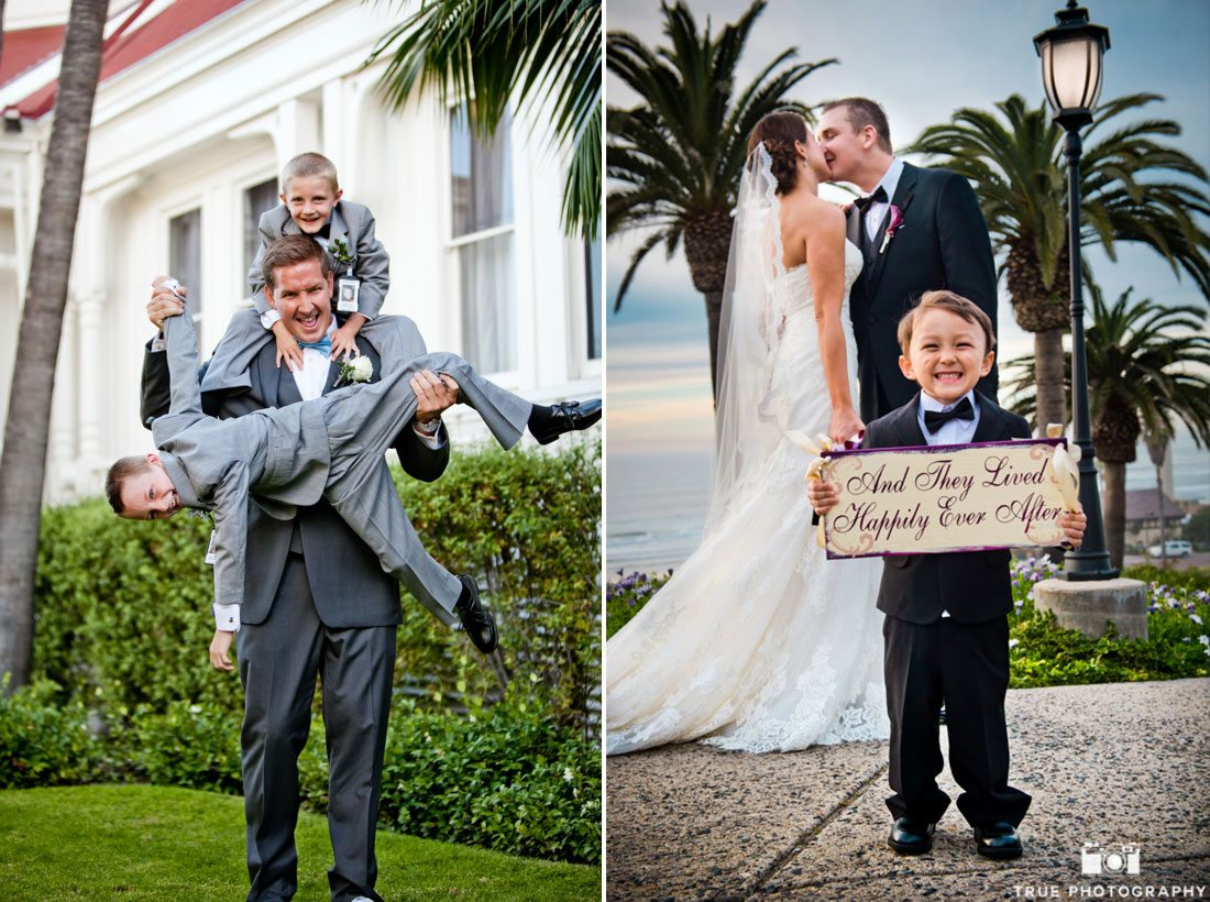 Kids posing with parents for adorable wedding day photos