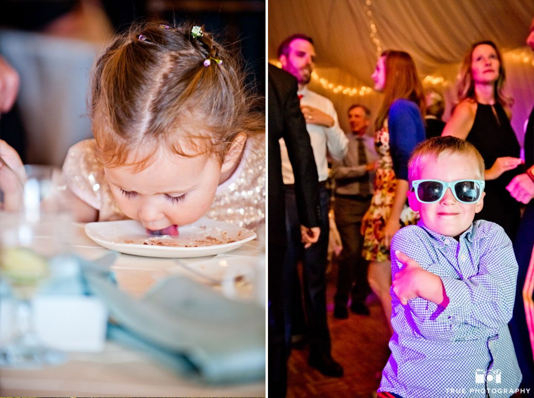 Young kids having fun during wedding