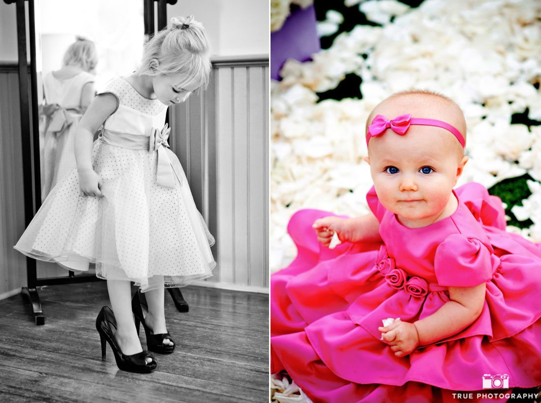 Cute flowergirls prepare for wedding day