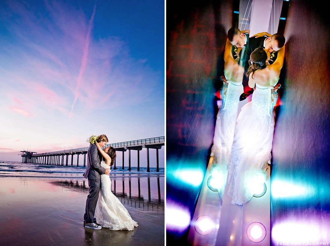 Couples incorporating dramatic modern blue and pink lighting into wedding day photos