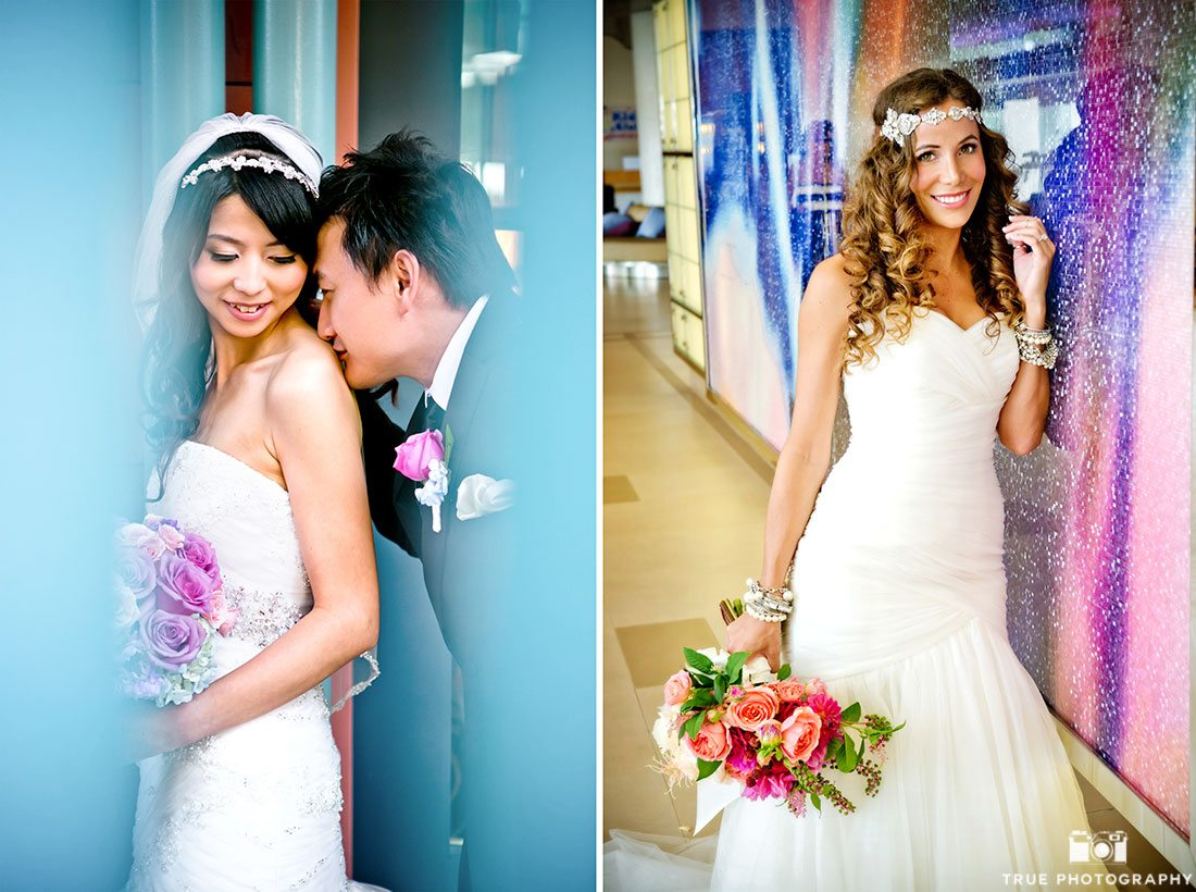 Beautiful Brides wearing 2016 Pantone colors rose quartz and serenity