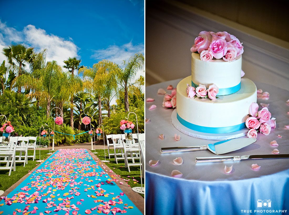 Wedding Ceremony and Wedding Cake featuring 2016 Pantone colors, rose quarz and serenity