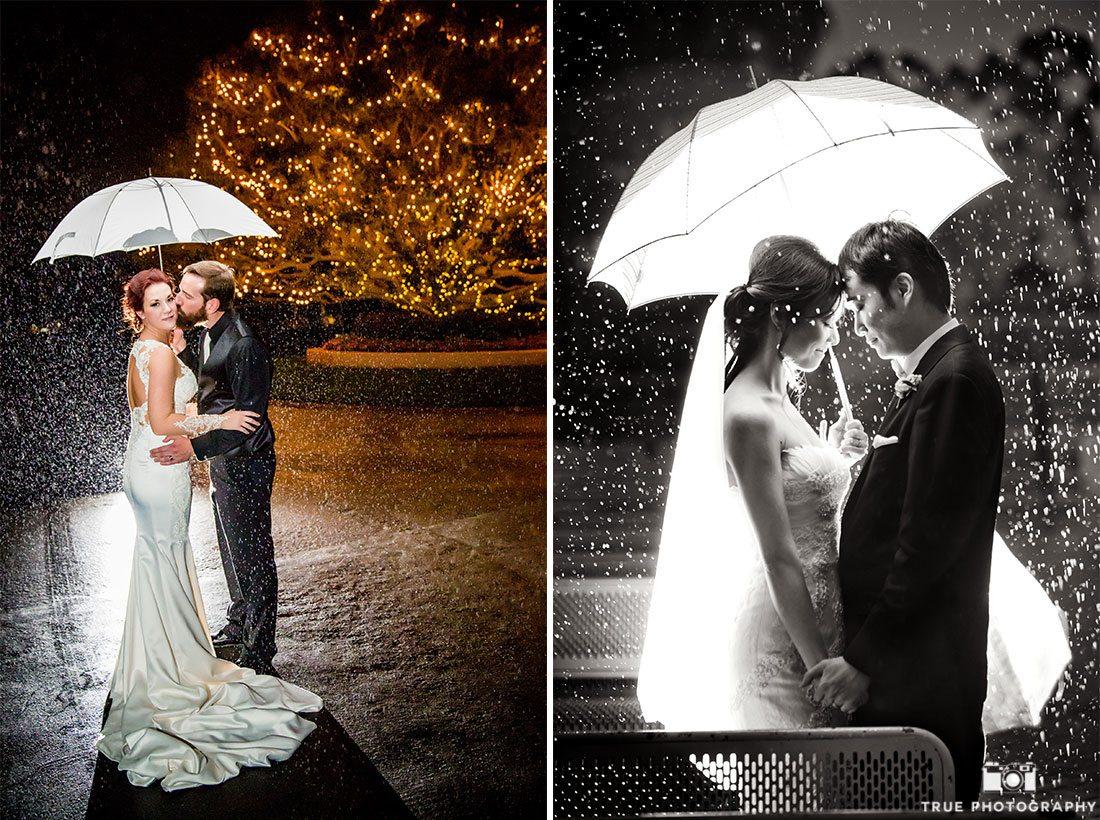 Couples Holding Umbrellas in Rain