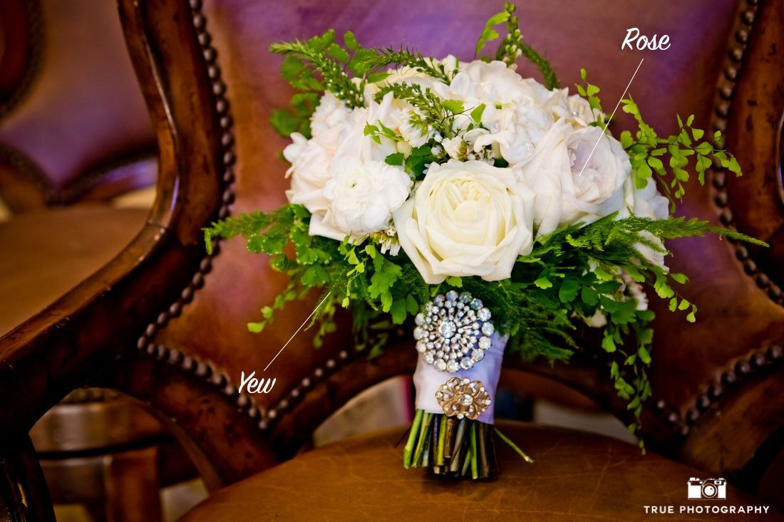 Classic bouquet incorporating yew plant