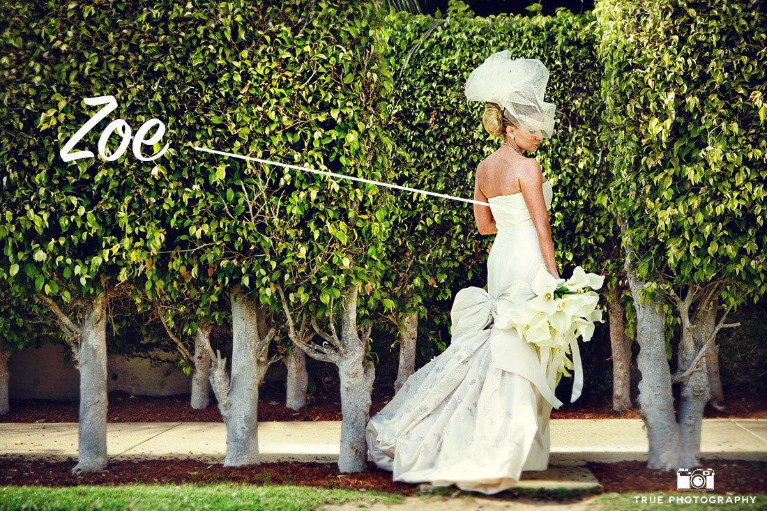 Bride Zoe holding calla lily bouquet