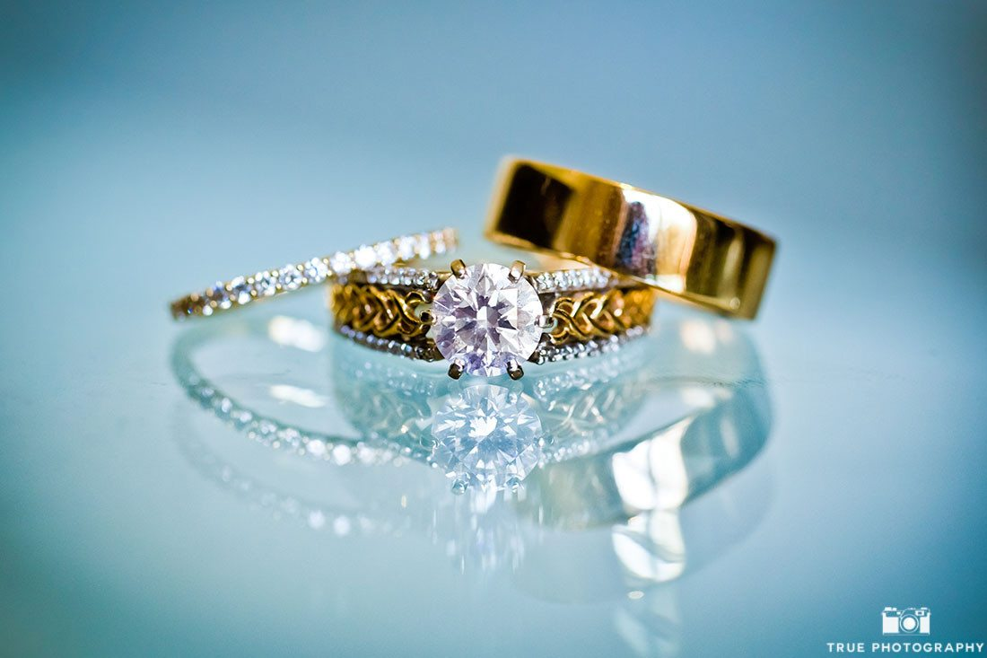 Beautiful Macro Ring photographed on blue reflective background
