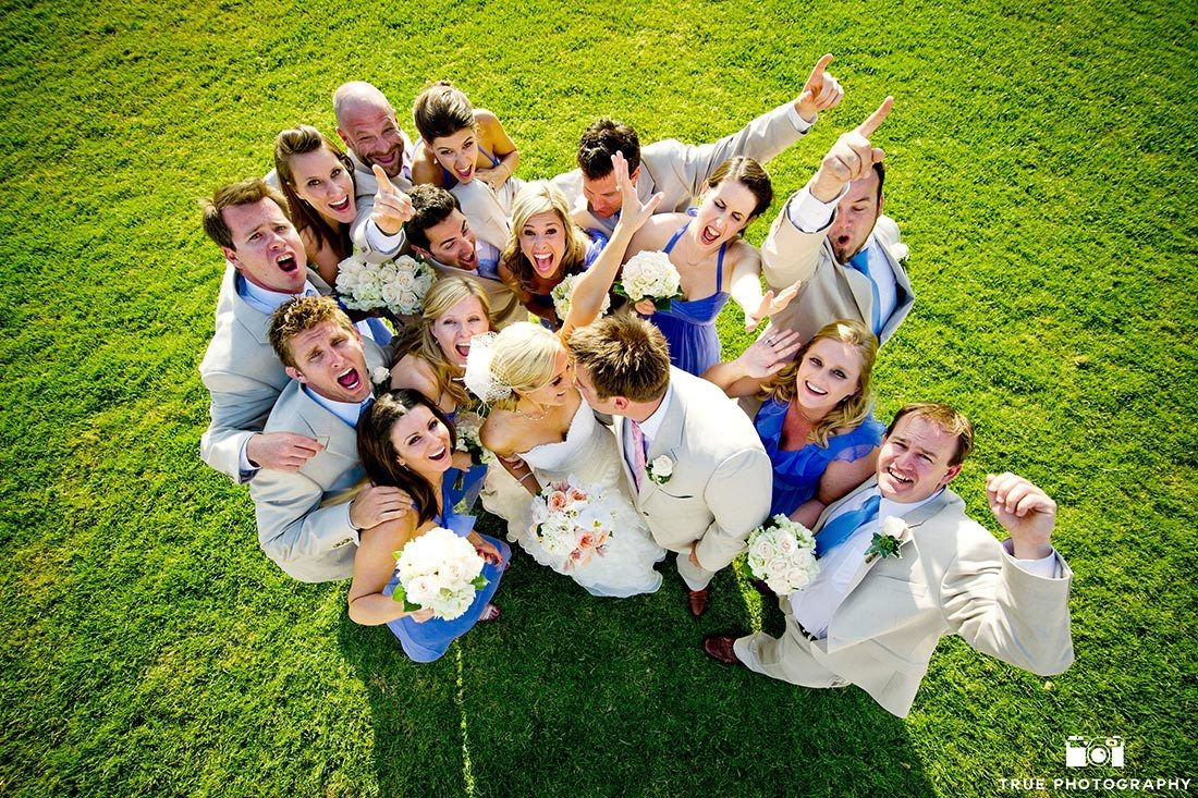 Funny Bridal Party celebrate bride and groom wedding with cheers