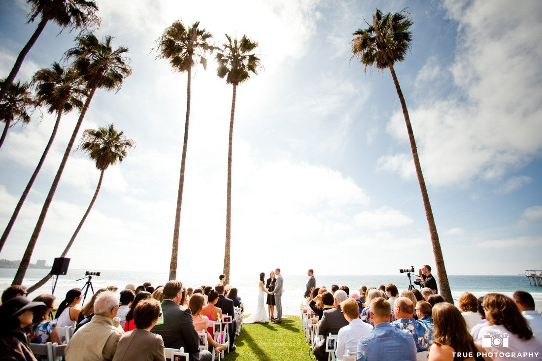 Bride and groom at Scripps Seaside Forum ceremony