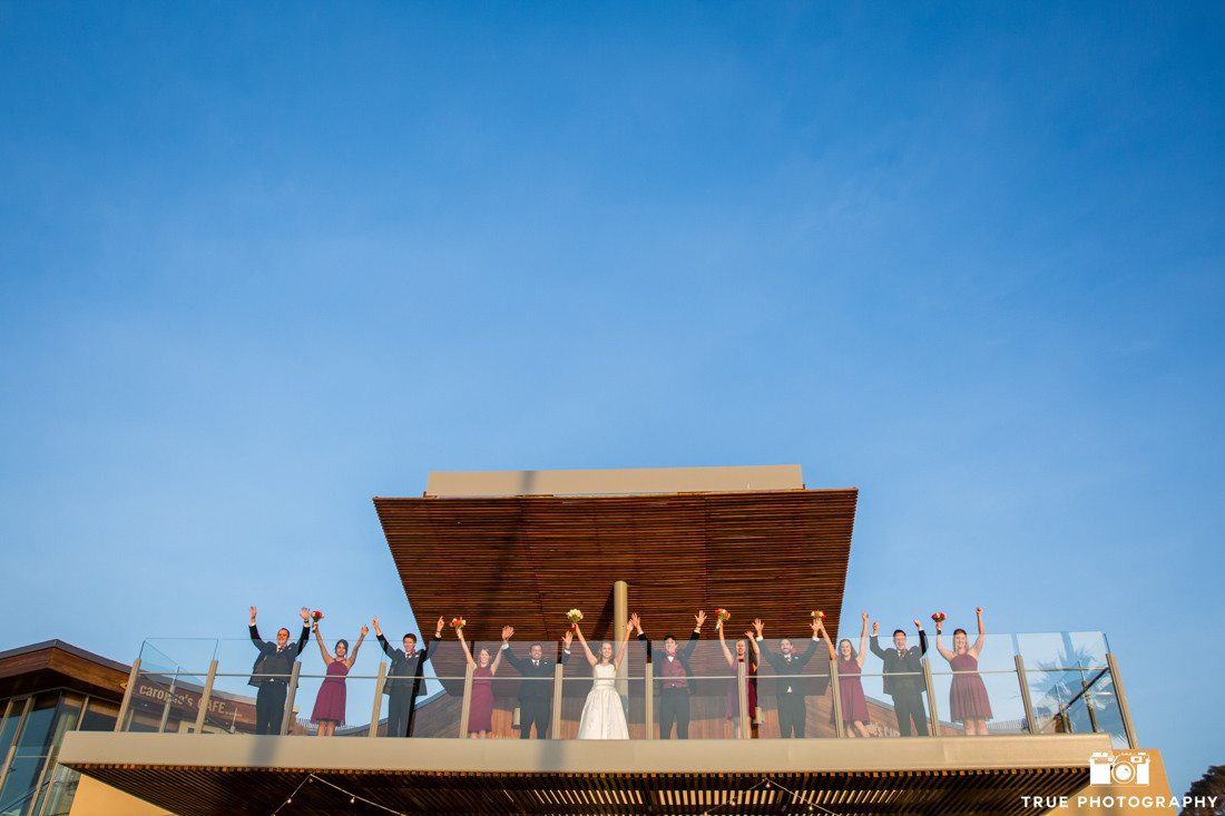 Bridal party photo at Scripps Seaside Forum