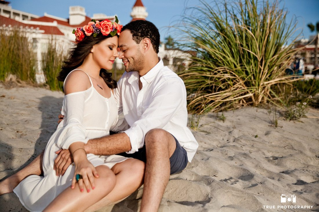 Engagement Photo at the Hotel Del Coronado, California. Woman wearing a flower crown.