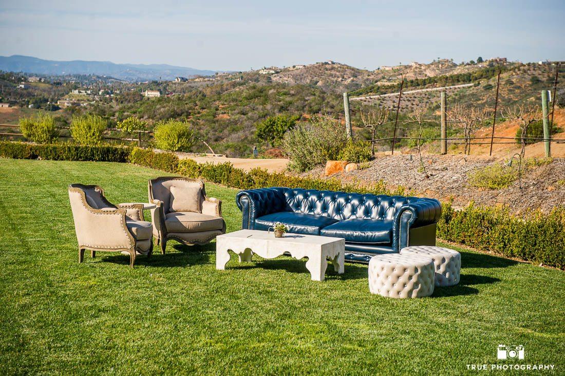 Outdoor wedding furniture on lawn