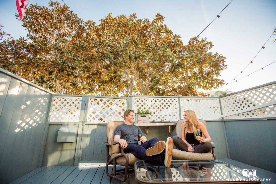 Natural engagement photos at a couples home in Point Loma, California