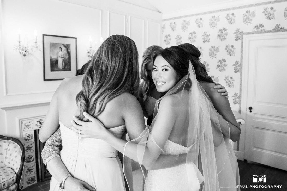 Bridesmaids Candid Group Hug at the Darlington House in La Jolla, Californa
