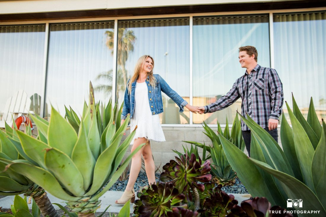 Engagement Photo in front of the Pearl Hotel in Point Loma, San Diego