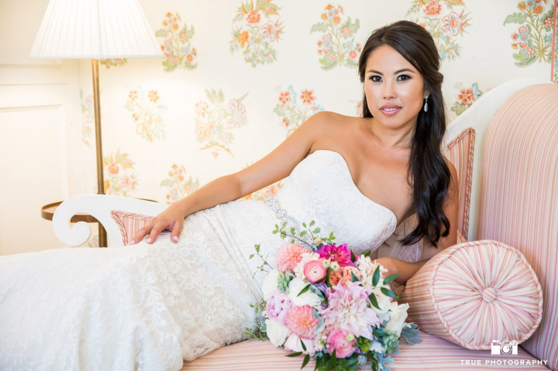 Beautiful Bride in a stylized portrait at the Darlington House in La Jolla, California