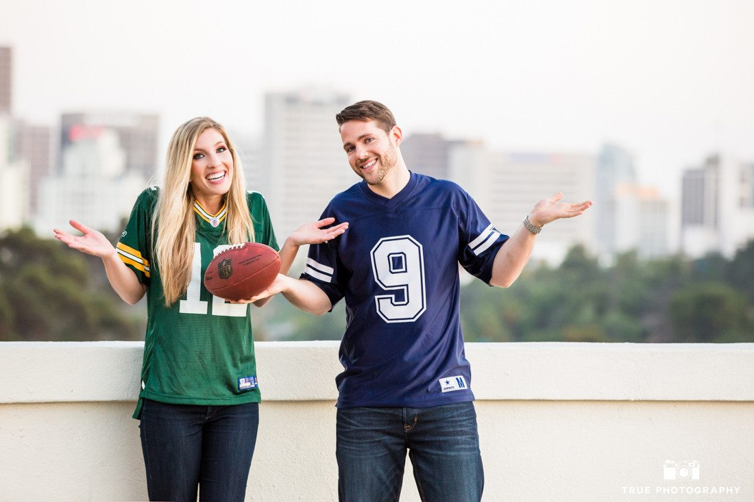 Fun Engagement Photo of Green Bay Packers and Dallas Cowboys Couple