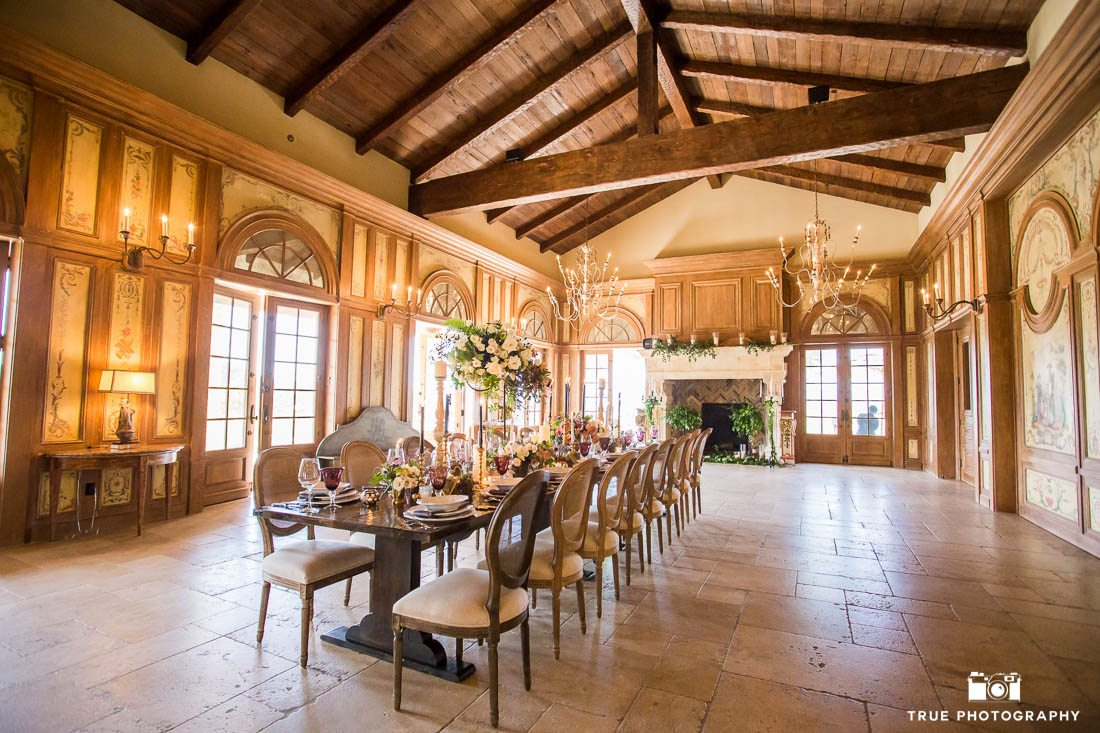Long table for rustic wedding reception