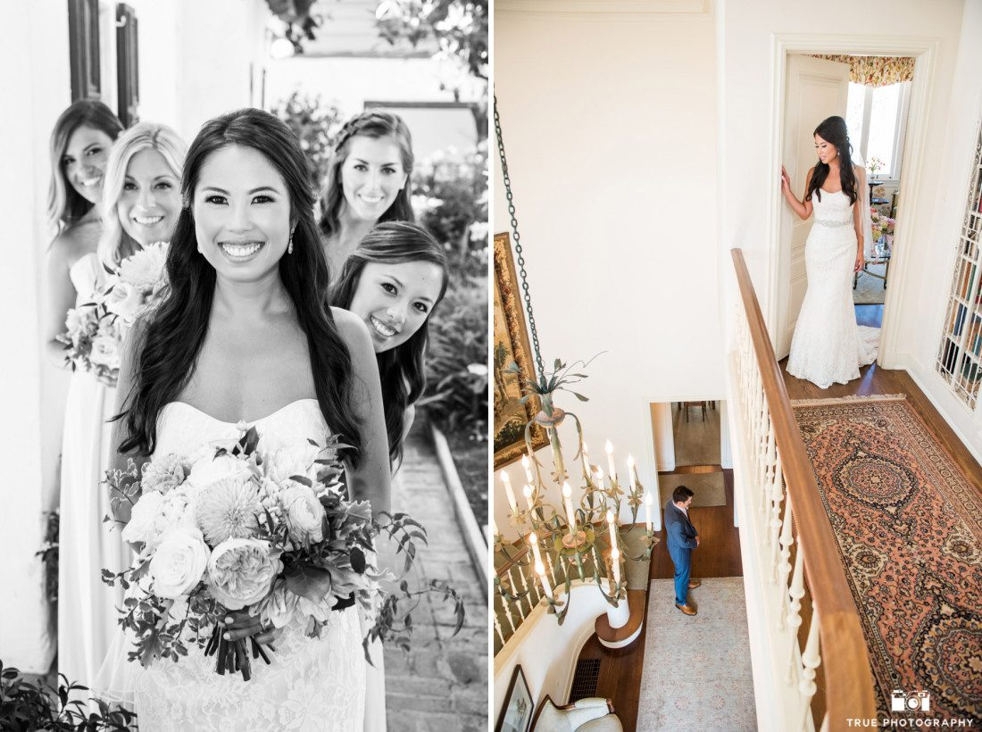 Bridesmaids at the Darlington House in La Jolla, California