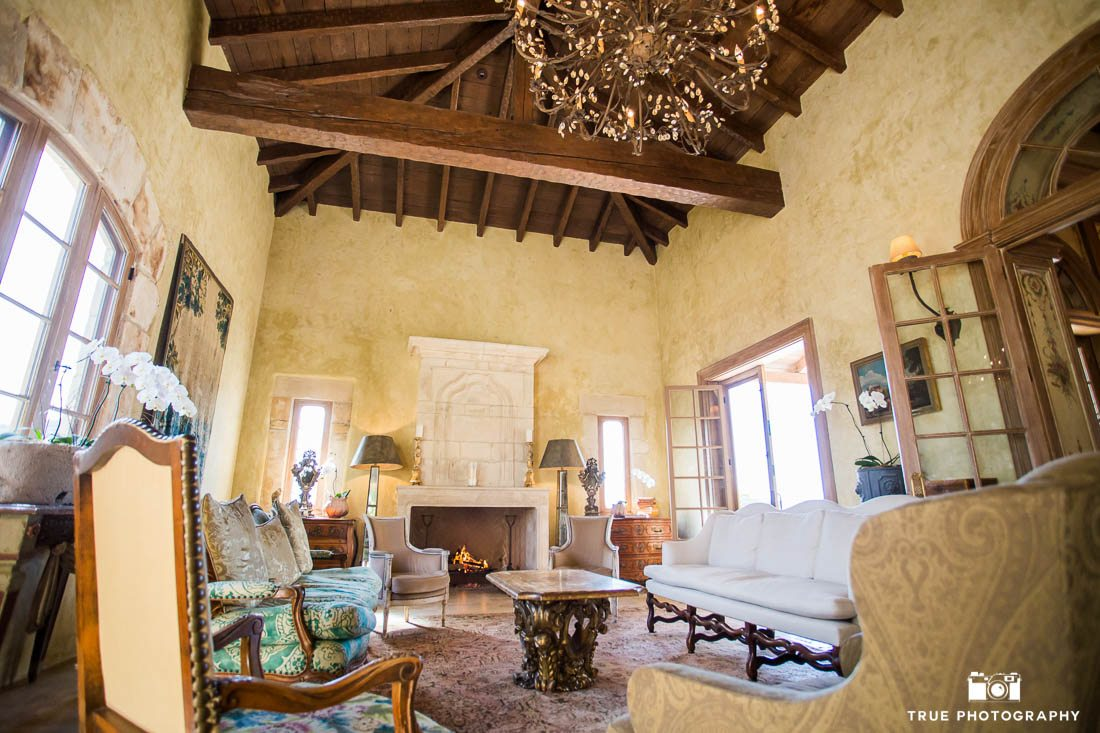 cozy entrance at exclusive wedding venue rustic antique decor