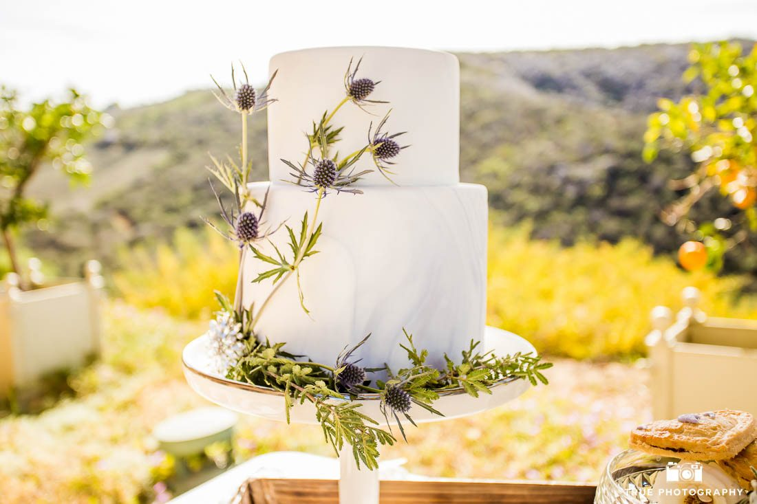 Marbled wedding cake with lavendar accents