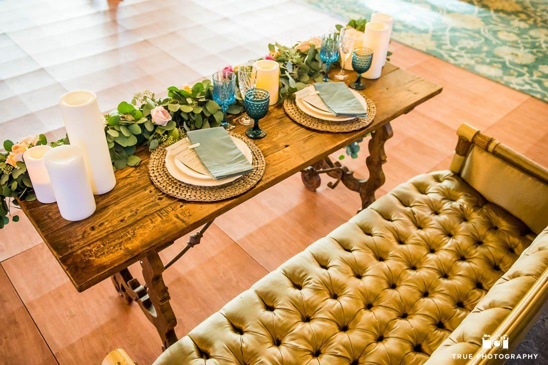 Wedding table at Vista reception