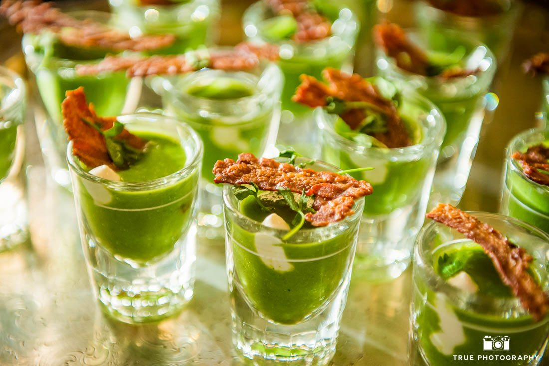 Wedding appetizers in shot glass
