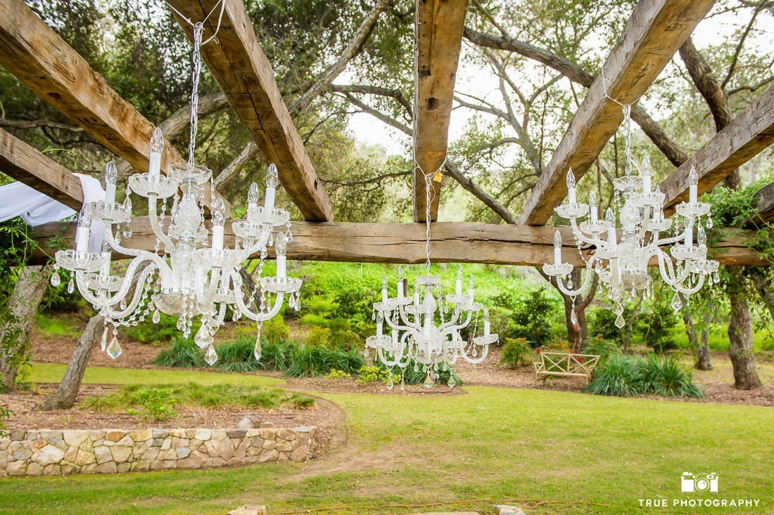 Wedding ceremony hanging chandelliers
